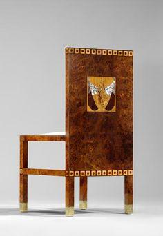 Koloman Moser, pair of chairs, 1902/03, burr elm veneered, snakewood veneered, birdseye maple veneered, mother-of-pearl and and various types of wood
