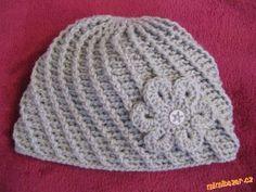 HÁČKOVÁNÍ - Čepice ze šikmých reliefních sloupků + návod na kytičku Crochet Girls, Crochet Baby, Knit Crochet, Girls Dresses, Beanie, Sewing, Knitting, Retro, Pattern