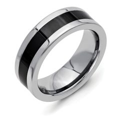 Chisel Stainless Steel Polished Black Ceramic Center Band