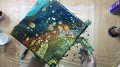 ( 178 ) acrylic pouring with PVA and YUPO swipes