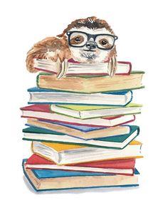 Book Nerd Watercolor PRINT - Sloth Painting, Book Lover, Nursery Art, Children's Art