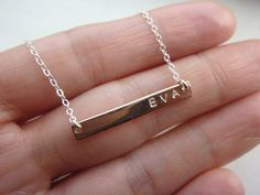silver initial bar necklacesilver initial by MomentusNY on Etsy, $45.00
