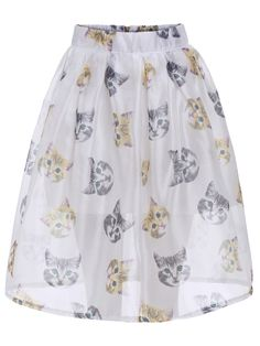 With Zipper Cat Print Flare Skirt 14.33