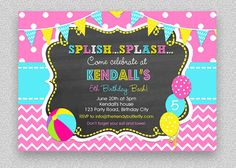 Girls Pool Party Invitation  Children's Pool by TheTrendyButterfly