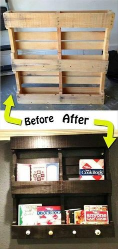 Fun DIY Pallet Ideas - 30 Pics  Great way to store all of my cookbooks that I never get to us. lol -tc