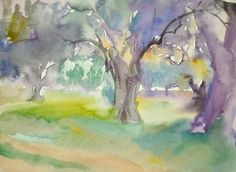 Olive Trees original watercolor by GordanasArt on Etsy, $50.00