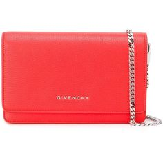 Givenchy Pandora Chain Wallet Clutch (820 BAM) ❤ liked on Polyvore featuring bags, handbags, clutches, orange, chain strap purse, red clutches, crossbody purses, orange handbags and orange cross body purse