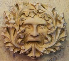 Stone Green Man, Lincoln Cathedral Taken from the medieval carvings found upon the misericords and supports within the choir stalls of Lincoln Cathedral. This carving is of the legendary Green Man. This ancient mythical person dates back to pagan origins and represents the continual flow of the life cycle. Shown virtually always with foliage around the face and quite often originating from the mouth this classic interpretation of the Green Man is one of the most well known and documented.