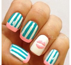 cute blue and pink nails