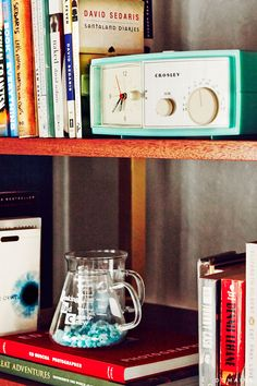 Vintage radio on bookshelf
