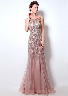 Buy discount In Stock Brilliant Tulle Scoop Neckline Mermaid Evening Dresses With Beadings at Lilybr Prom Gowns Elegant, Cheap Evening Dresses, Mermaid Evening Dresses, Formal Gowns, Evening Gowns, Mermaid Gown, Bridesmaid Dresses, Prom Dresses, Wedding Dresses