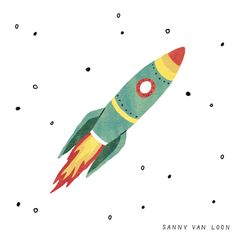 Illustration by Sanny van Loon from the book 'Creative Flow' • www.sannyvanloon.com | rocket | space ship