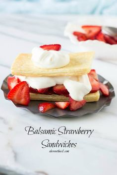 Sweet Balsamic Strawberries on buttery, flaky puff pastry and fresh whipped cream on top ohsweetbasil.com_-