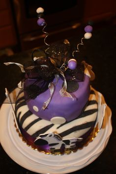 Purple Baby Shower Cake (add a little lime green & I so want this!!)