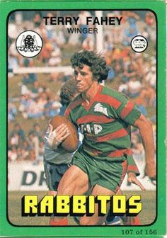 I posted Terry Fahey as a jean-clad Rooster recently. This is more familiar, the flying kind for Souths Rabbits In Australia, Rugby League, Champion, Hero, Baseball Cards, Sydney, History, Sport, Rooster