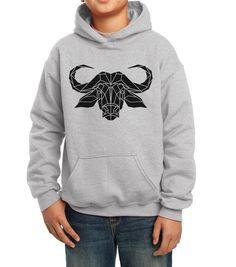 Kids Water Buffalo Hooded Sweater, grey graphic hoodie, geometric print sweater, Unisex buffalo jumper, Kids Snowboard Apparel