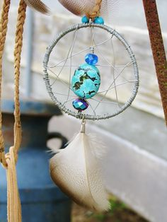 Summer Dreaming Dreamcatcher Necklace turquoise, Swarovski crystals, faux suede, wire wrapped, OOAK by EclecticRiverDesigns on Etsy
