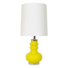 Sculptural vintage yellow lamp base + crisp white custom handmade lampshade. Yellow Ottoman, Vintage Yellow, Lamp Bases, Mid-century Modern, Table Lamp, Neon, Sculpture, Lighting, Crisp
