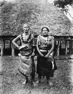 Date: Between 1890 and 1899  Faumuina, an important Chief of the Faleata district near Apia, and his wife, photographed, probably in the 1890s, by Alfred John Tattersall.