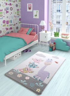 Zoomie Kids This rug is soft and comfortable. It provides a soft and warm touch. Healthy and safe, it prevents sliding and crashes spine. Lilac, Mauve, Toddler Bed, Owl, Carving, Kids Rugs, Warm, Children, Furniture