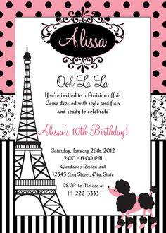 Paris Birthday Invitation Printable File DIY Pink Polka Dots Eiffel Tower Poodle