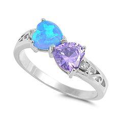 Opal Promise Ring, Heart Promise Rings, Heart Ring, Blue Rings, Opal Rings, Big Wedding Rings, Opal Jewelry, Jewlery, Fantasy Jewelry