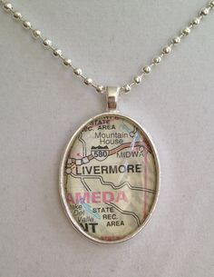 Map of Livermore CA Necklace by joytoyou41 on Etsy, $20.00