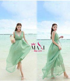 Đầm maxi cổ chữ V xanh lơ - MX226 : Váy Maxi Đẹp