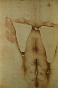 Photograph of the Holy Shroud of Turin showing the wound to the heart of the Man in the Holy Shroud of Turin.