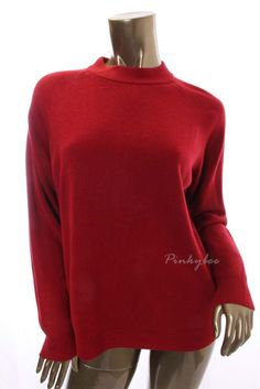 KAREN SCOTT New Womens Red Solid Polo Turtle Neck Long Sleeve Sweater Size XL #KarenScott #TurtleneckMock