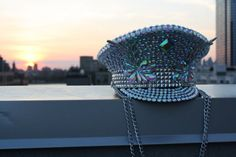 Custom Jeweled Burning Man Hat; disco ball festival hat; rhinestone silver iridescent Playa perfect captain hat, custom burning man hat