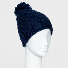 Women's Chunky Knit Beanie with Pom - Mossimo Supply Co. Centennial Blue, Size: Large