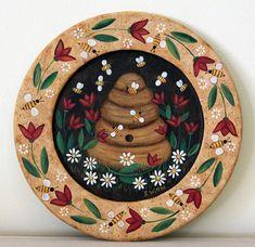 Primitive Folk Art Painting Wood Plate with Bee Skep Honey