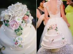 Three tier wedding cake with sugar flowers | Photography by http://www.claire-morgan.com/