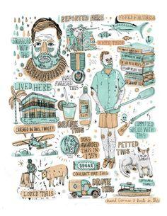 """Ernest Hemingway, el escritor de obras crudas y directas. Sus textos se revelan contra lo cursi del romanticismo y su vaguedad. Él busca lo básico, lo esencial; como el Viejo y el Mar.  """"El hombre que ha empezado a vivir más seriamente por dentro, empieza a vivir más sencillamente por fuera.""""  """"La felicidad es la cosa más rara que conozco en la gente inteligente.""""  http://huff.to/1mRnzrX"""