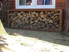 CorTenstaal Deco, Firewood, Texture, Garden, Projects, Inspiration, Bar Tables, Houses, Woodwind Instrument
