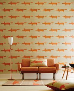 Go all out with Scion's fabulous Mr Fox fabric and wallpaper in neutral and orange!
