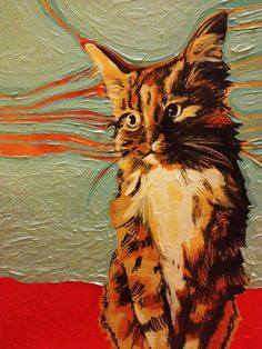 This is one of those paintings that captures your heart even though it is disturbing composition wise and the red is a bit abrasive...still, I love it and the painter knew cats!