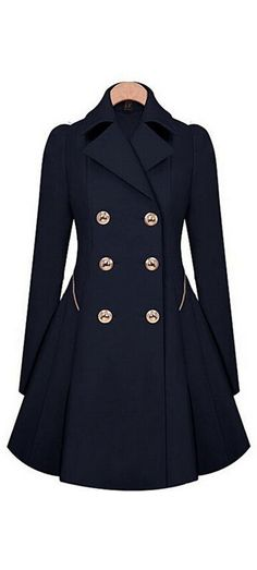 Navy double-breasted trench coat