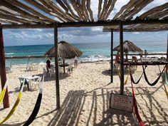 View from the hammocks at Freedom In Paradise Reggae Beach Bar, Cozumel, Mexico.