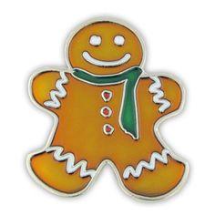 "Gingerbread Man Pin. 1-1/4"" Nickel plated. Soft enamel. $3.95"