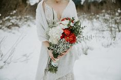 Red wedding bouquet ideas for brides. For this winter wedding in Canmore we went to the Canmore Engine Bridge for wedding photos. Red Bouquet Wedding, Bride Bouquets, Red Wedding, Wedding Photos, Wedding Day, Bridal Gowns, Wedding Dresses, Banff, Shades Of Red