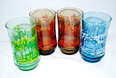 Libbey Seasons Juice Glasses Summer Autumn and by Dupasseaupresent