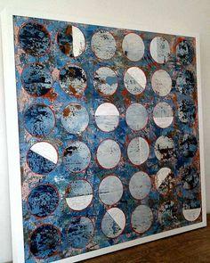 Tela em acrílica medindo 100x100cm. Artist Raq Piffer Sala Grande, Wall Art, Artist, Blue, Paintings, Masons, Apartments, Houses, Abstract Backgrounds