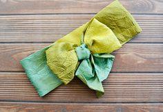 Green Ombre Turban Headband Boho Headband Bow Tie by BizimFlowers