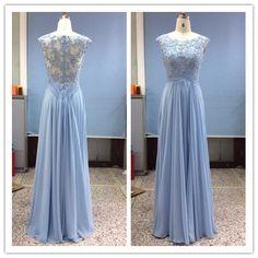 Light Pastel Blue Lace Evening Gown - Darius Cordell Fashion Ltd