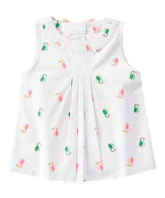 Look at this White Toucan Pleated Top - Infant, Toddler & Girls on #zulily today!
