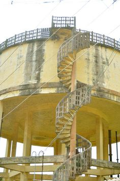 Watertower with a spiral staircase.