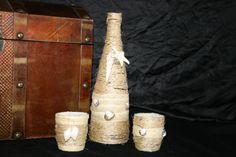 Deko-Objekte - Dekoflasche mit 2 Teelichtgläsern, Muscheln - ein Designerstück von Angelas_Kreativwelt bei DaWanda
