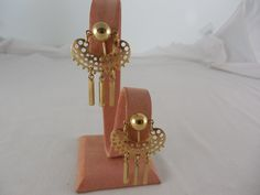 Vintage 1973 Sarah Coventry Charisma Textured Goldtone Dangle Clip On Earrings by Dockb30Crafts on Etsy